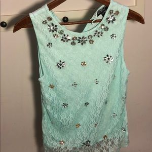 Green bedazzled lace top